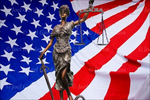 Lady Justice and American Flag/Joel Gordon Photography, New York City