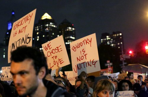 Protesters marching to Trump Tower in Manhattan the night after the election. Yana Paskova/ New York Times